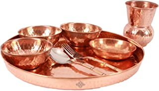 IndianArtVilla Handmade Pure Copper Traditional Kitchen Thali/Dinner Set Of 8...