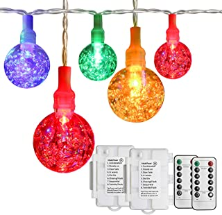 Koopower 2 Pack 18ft String Lights Outdoor 30 LED Battery Operated Globe Patio Light 8 Modes Waterproof Crystal Fairy Ligh...