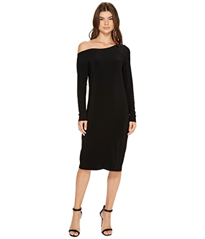 KAMALIKULTURE by Norma Kamali Long Sleeve Drop Shoulder Dress (Black) Women