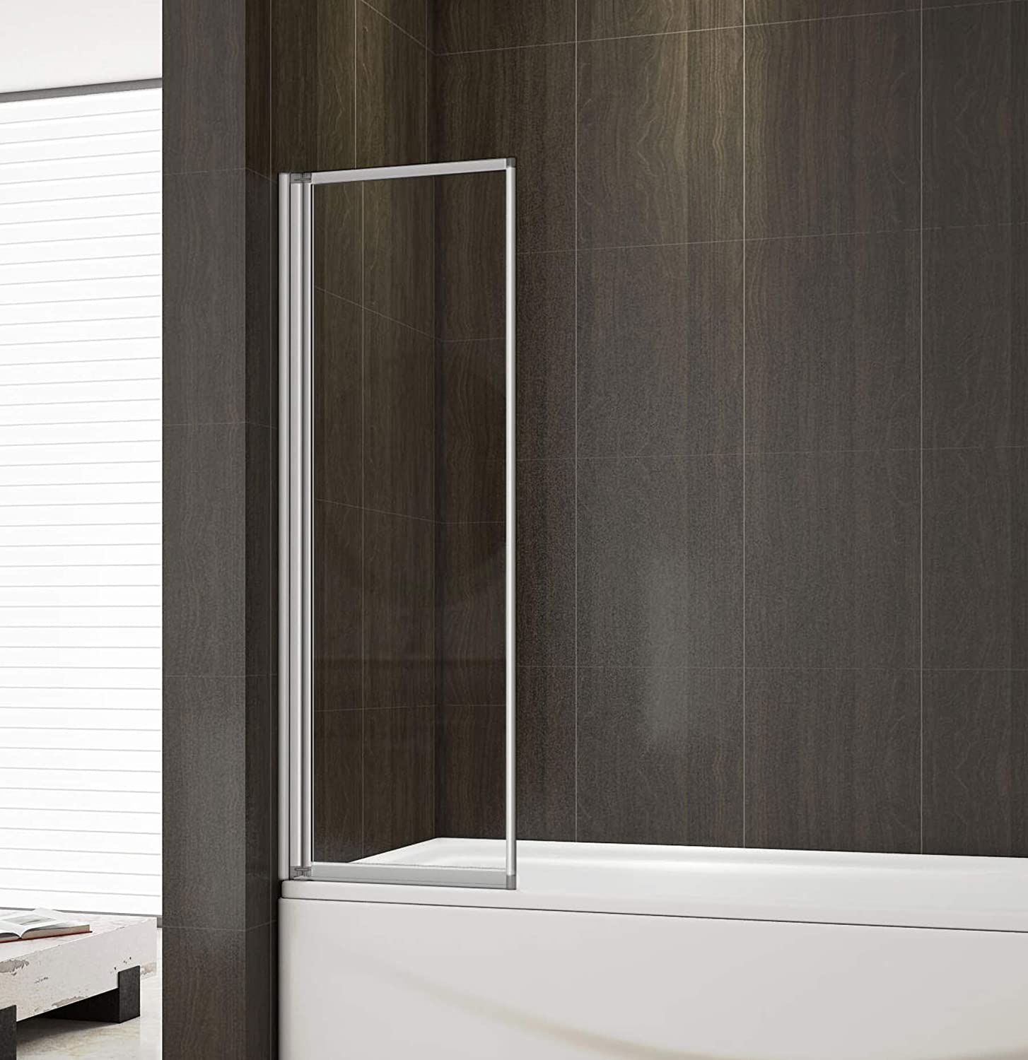 Perfect 700mm Folding Shower Screen Bath Screen Toughened Glass Panel 1 Fold