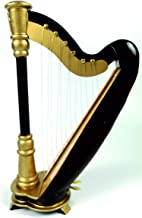 Harp Ornament, LS Wooden Miniature Harp Music Musical Instrument Holiday Ornament Decoration (5.5`` Harp)