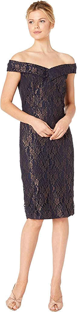 Off the Shoulder Sweetheart Neck Foil Lace Sheath
