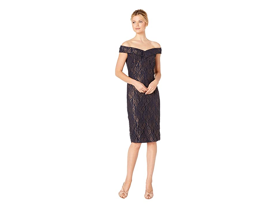eci Off the Shoulder Sweetheart Neck Foil Lace Sheath (Navy/Gold) Women