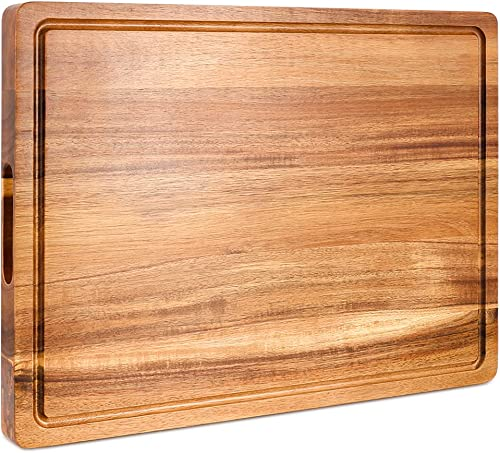 high quality Extra wholesale Large Wood Cutting Board for Kitchen, Premium Acacia Wooden Chopping Board with Juice Groove, Reversible Heavy Duty outlet sale Butcher Block Thick Cheese Charcuterie Board sale
