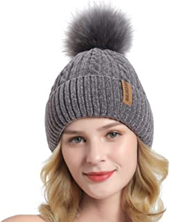 QUEENFUR Winter Beanie Hats Knit Thick Fleece Lined Chunky Chenille Snow Cap for Women with Faux Fur Pompom