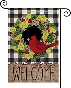AVOIN colorlife Buffalo Plaid Welcome Christmas Garden Flag 12x18 Inch Vertical Double Sided, Cardinals Holly Berries Wreath Winter Yard Outdoor Decoration