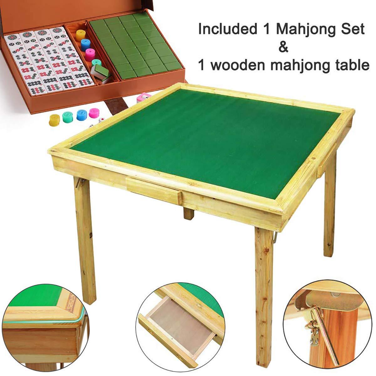 Juego de mesa Mahjong grande, de madera reversible y portátil, 88 cm + un juego completo de 144 baldosas extra grandes Mahjong para Póquer/Dominó/cartas/Paigow/mesa de juego Mahjong con soportes para monedas: Amazon.es: