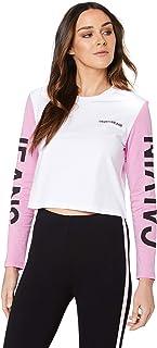 Calvin Klein Jeans Women's Institutional Back Logo Blocking Crop T Shirt, Bright White/Begonia Pink/Black