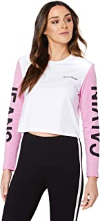 Calvin Klein Jeans Women's Institutional Back Logo Blocking Crop T Shirt, Bright White/Begonia Pink/Black