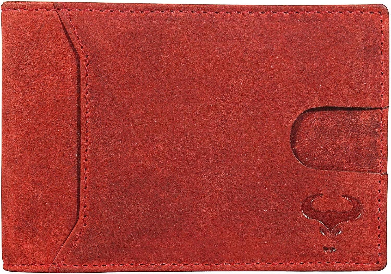 Genuine Leather Bifold Slim Wallet for Men - Money Clip - Outside ID Slot - RFID