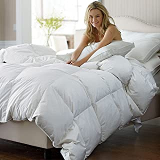 C&W Luxurious Siberian White Goose Down Comforter King Size/California King Duvet Insert Heavy Warmth for Winter 1200Thread Count Cotton Cover 750 Fill Power 60oz Fill Weight White Solid