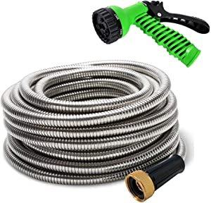 """MTB 304 Stainless Steel Garden Hose 25-ft with Spray Nozzle and 3/4"""" Solid Aluminum Connectors, Metal Water Hose…"""