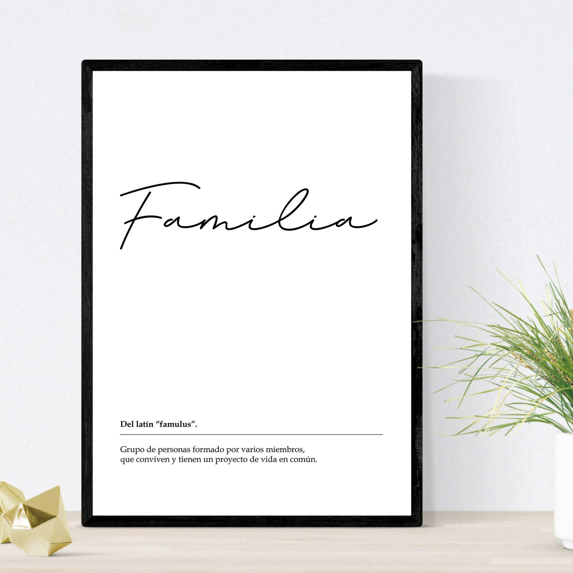 Lámina Palabra Familia Lámina nordicas blanco y negro. Poster 250 gr y tintas alta calidad Tamaño A3 Sin marco: Amazon.es: Amazon.es