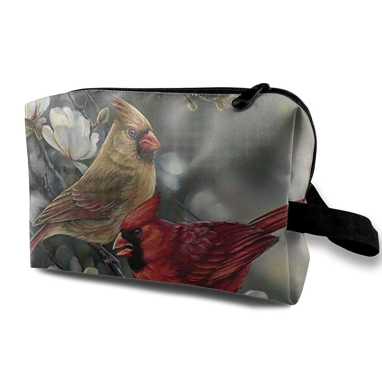 セクタ確かに早い冬の枢機卿の鳥 化粧バッグ 収納袋 女大容量 化粧品クラッチバッグ 収納 軽量 ウィンドジップ