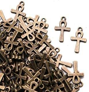 JETEHO 100 Pcs Antique Bronze Ankh Egyptian Cross Charms Religious Cross Charms for Bracelet Jewelry Making