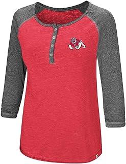 Colosseum Womens Fresno State Bulldogs Henley 3/4 Long Sleeve Tee Shirt