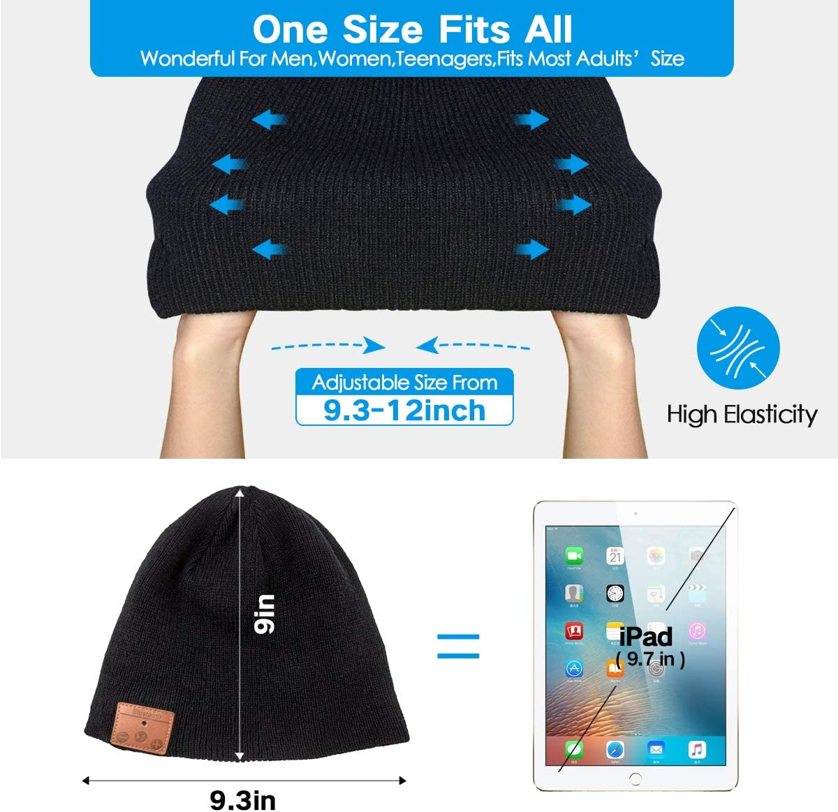Bluetooth Beanie,Stereo Knit Music Hat with Bluetooth V5.0 Wireless Hats Headphone Upgraded Unisex Knit Bluetooth Beanie Suitable for Outdoor Sports,Gift