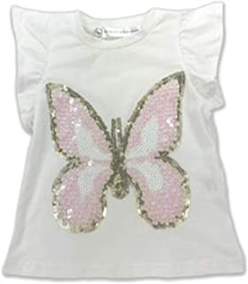 Allegra and Harvey Harper Ruffle Sleeve Cream Top with Sequin Butterfly