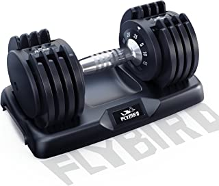 FLYBIRD Adjustable Dumbbell,25/55lb Single Dumbbell for Men and Women with Anti-Slip Metal Handle,Fast Adjust Weight by Tu...