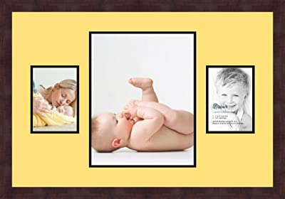 Art to Frames Double-Multimat-683-815//89-FRBW26061 Collage Frame Photo Mat Double Mat with 4-5x7 and 1-11x14 Openings and Espresso Frame
