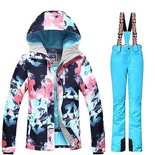 4db36bfa4f RIUIYELE Women s Ski Bib Suit Jacket Waterproof Snowboard Colorful Printed Ski  Jacket and Pants Set