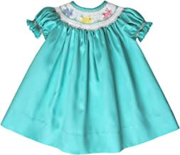 Carouselwear Aquamarine Girls Bishop Dress with Smocked Easter Bunny