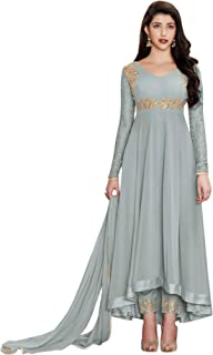 Fashion Basket Faux Georgette Semi Stitched Salwar Suit Gowns (Green)