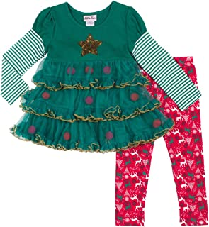 Toddler Girls Green Red Christmas Tree Dress Shirt & Reindeer Legging Outfit