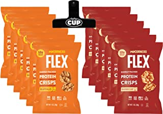 PopCorners Flex Popped Protein Crisps Snack Variety Pack, 6 of Each Buffalo and barbecue Flavored 1.0 Ounce Bags (12 Count) with By The Cup Chip Clip