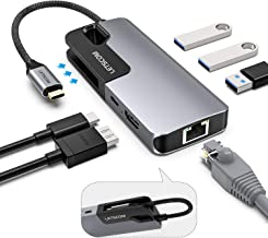 USB C Hub, LETSCOM 6-in-1 USB C Adapter with 4K USB C to HDMI, 1 Gbps Gigabit Ethernet, 87W Power Delivery, 3 USB 3.0 Ports Hub for Type C Laptops