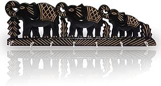 IndiaBigShop Wooden Key Holder Triple Elephant Design, Black Color Key Hangers, wall key holders, key organizer, key hooks, Easter Day/Mothers Day/Good Friday Gift