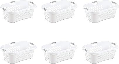 Sterilite 12108006 1.25 Bushel/44 Liter Ultra Hip Hold Laundry Basket, White Basket w/Titanium Inserts, 6-Pack
