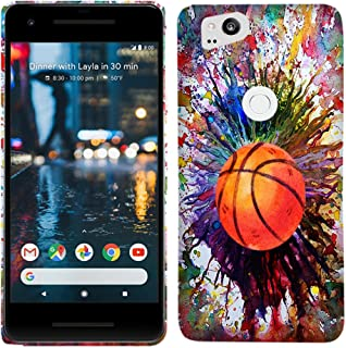 Google Pixel 2 Case - Vintage Color Basketball Hard Plastic Back Cover. Slim Profile Cute Printed Designer Snap on Case Glisten