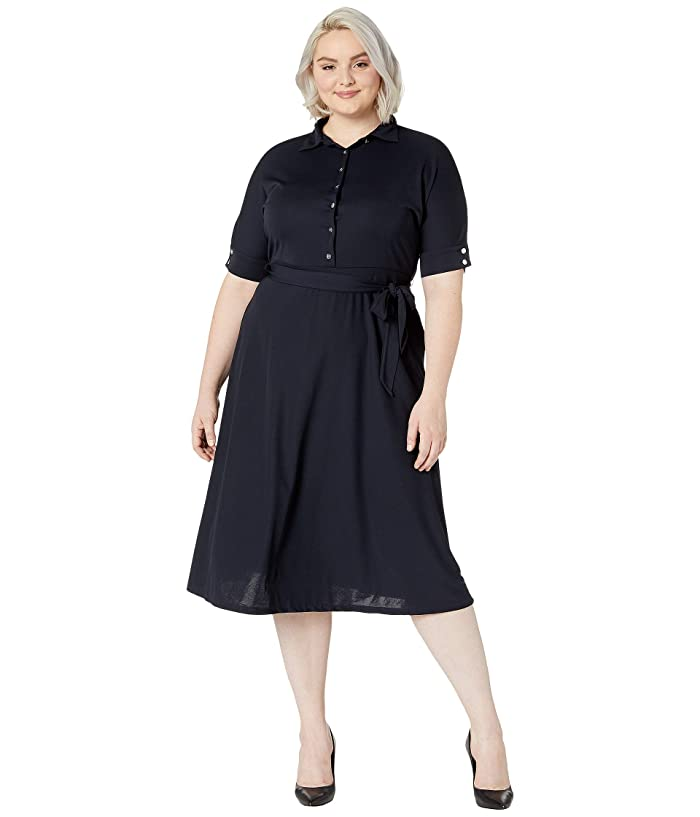 Vintage 50s Dresses: Best 1950s Dress Styles LAUREN Ralph Lauren Plus Size Belted Jersey Shirtdress Lauren Navy Womens Clothing $155.00 AT vintagedancer.com