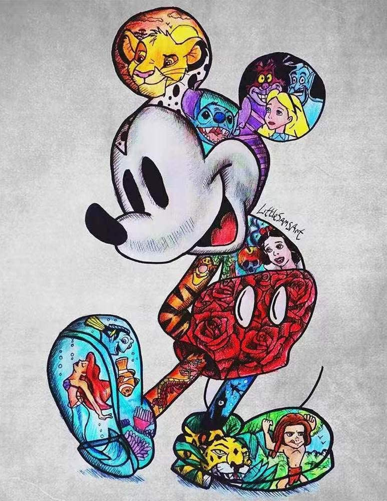 DIY 5D Diamond Painting Kit, Mickey Mouse Full Drill Crystal Rhinestone Embroidery Cross Stitch Arts Craft Canvas for Home Wall Decor Adults and Kids,11.8 x 15.7 inch