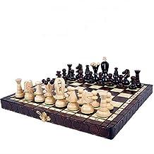 Scharnier, high-end schaakset massief met hout opvouwbare draagbare schaakplank en klassieke handgemaakte standaard stukke...