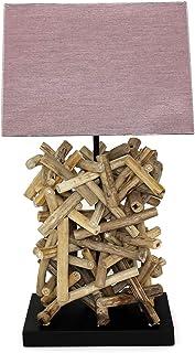 Lámpara de mesa de diseño de madera flotante con pantalla de tela, hecha a mano, única lámpara de mesa, salón, dormitorio