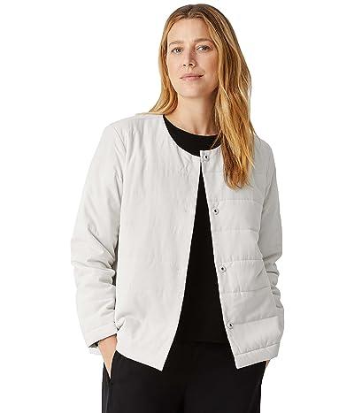 Eileen Fisher Round Neck Quilted Jacket in Fuji Silk