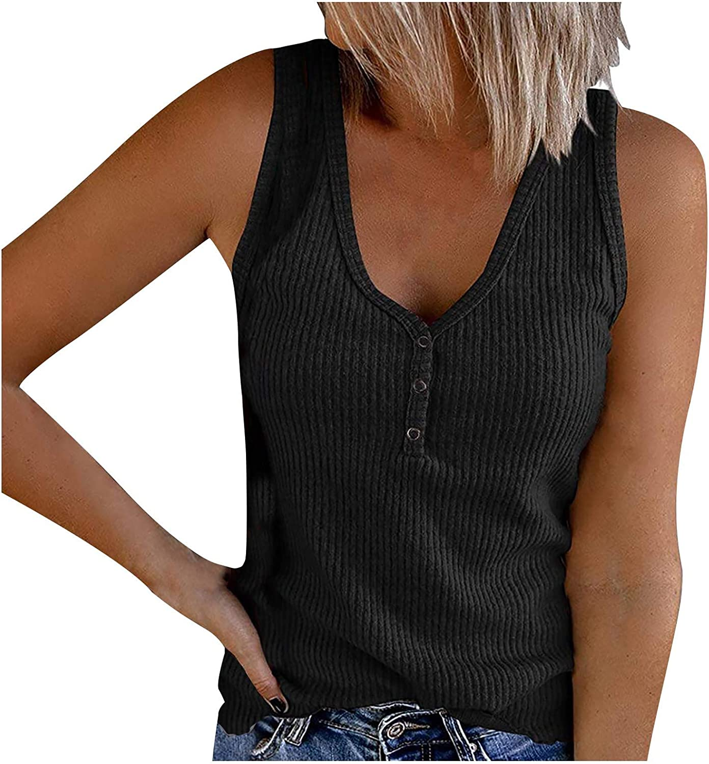FUNEY Women's Summer Tank Tops Sexy V-Neck Henley Shirts Ribbed Sleeveless Cami Shirt Button Down Casual Workout Tees
