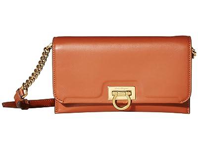 Salvatore Ferragamo Gancio Square Wallet on a Chain Crossbody (Siena Tan) Handbags