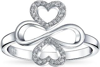 Ayllu ispirazione cuore infinito Clover per amore fortuna unità PAVE CZ anello per donne ragazza Sterling Argento