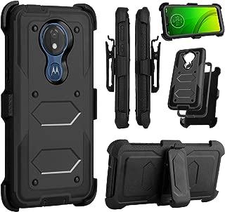 Venoro Moto G7 Power Case, Moto G7 Optimo Maxx, Moto G7 Supra Case, Heavy Duty Full Body Protection Case Cover with Swivel Belt Clip and Kickstand for Motorola Moto G7 Power/Moto E5 Plus (Black)