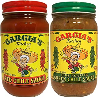Garcia's New Mexico Kitchen Red Chile Sauce and Roasted Green Chile Sauce 2 Pack