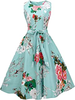 e535ad3b5 FAIRY COUPLE 50s Vintage Retro Floral Cocktail Swing Party Dress with Bow  DRT017