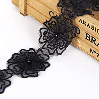 Black Flower Lace Trim Applique with Pearl Ribbon Tape 5 Yards Sewing DIY Craft Lace for Festival Wedding Party Birthday Bridal Shower Decoration and DIY Handmade Accessories (Flower 1#)