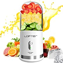 Portable Blender, LOFTER Mini Smoothie Juicer Cup - Six Blades in 3D, USB Rechargeable Personal Blender for Shakes and Smoothies, Single Serve 300ML/10oz Fruit Mixer, Multifunctional Small Travel Blender for Shakes and Smoothies, with 4000 mAh Rechargeable Battery, Ice Tray, FDA BPA Free, White