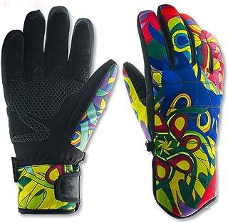 DIEBELLAU Unisex Ski Gloves Waterproof Thermal Heated Gloves Snowboard Gloves Men Women Winter Gloves for Sonwboarding, 1 Pair (Color : Blue, Size : L)