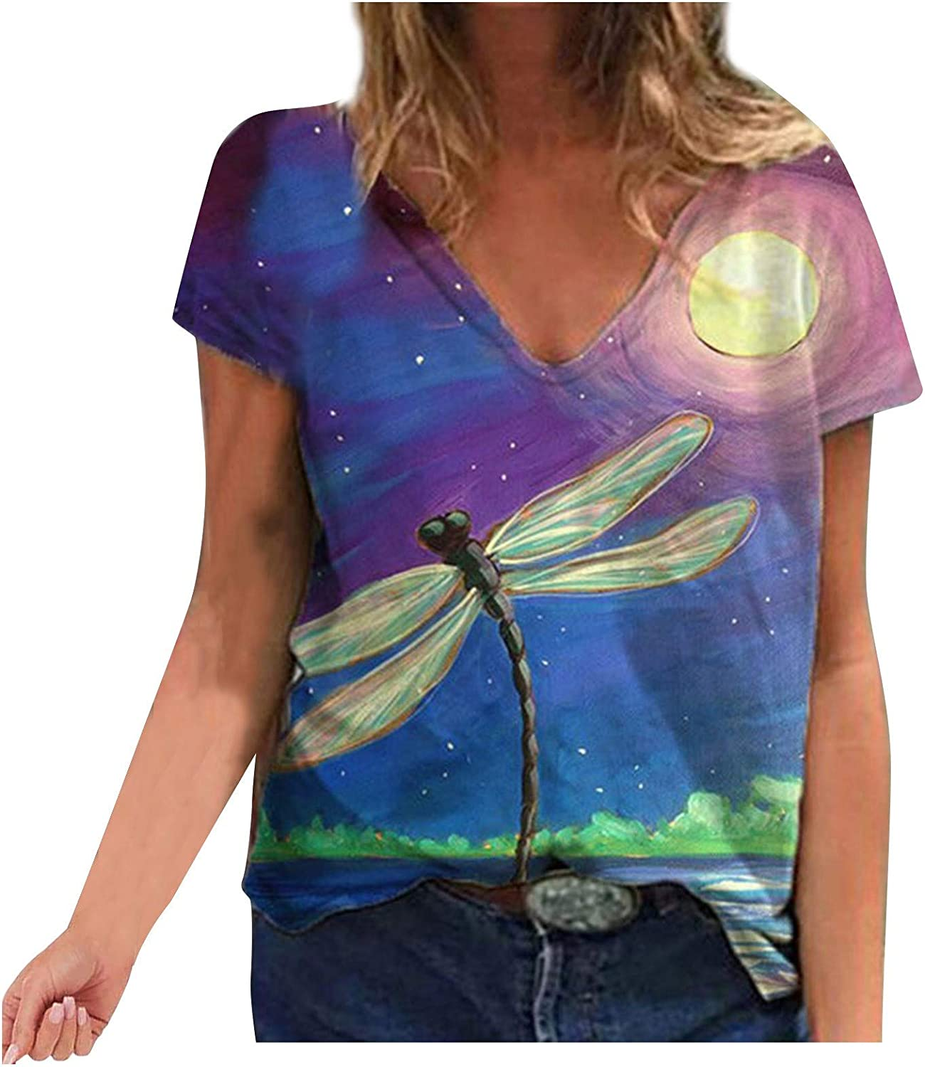Free shipping anywhere in the nation Portazai Short Sleeve Tops for V-Neck Austin Mall T-Shirts Womens Fas Women