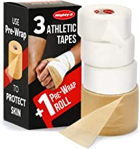 Mighty-X White Athletic Tape (1.5 inch x 45 feet) + PreWrap (2.75 inch X 75 feet) - 4 Pack - Used AS: Ankle Tape, Climbing Tape, Boxing Tape - Sports Tape Athletic