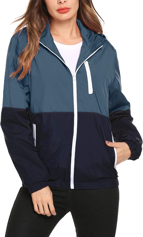 Romanstii Lightweight Packable Hooded Jacke Women Short Bomber Jacket Biker Coat